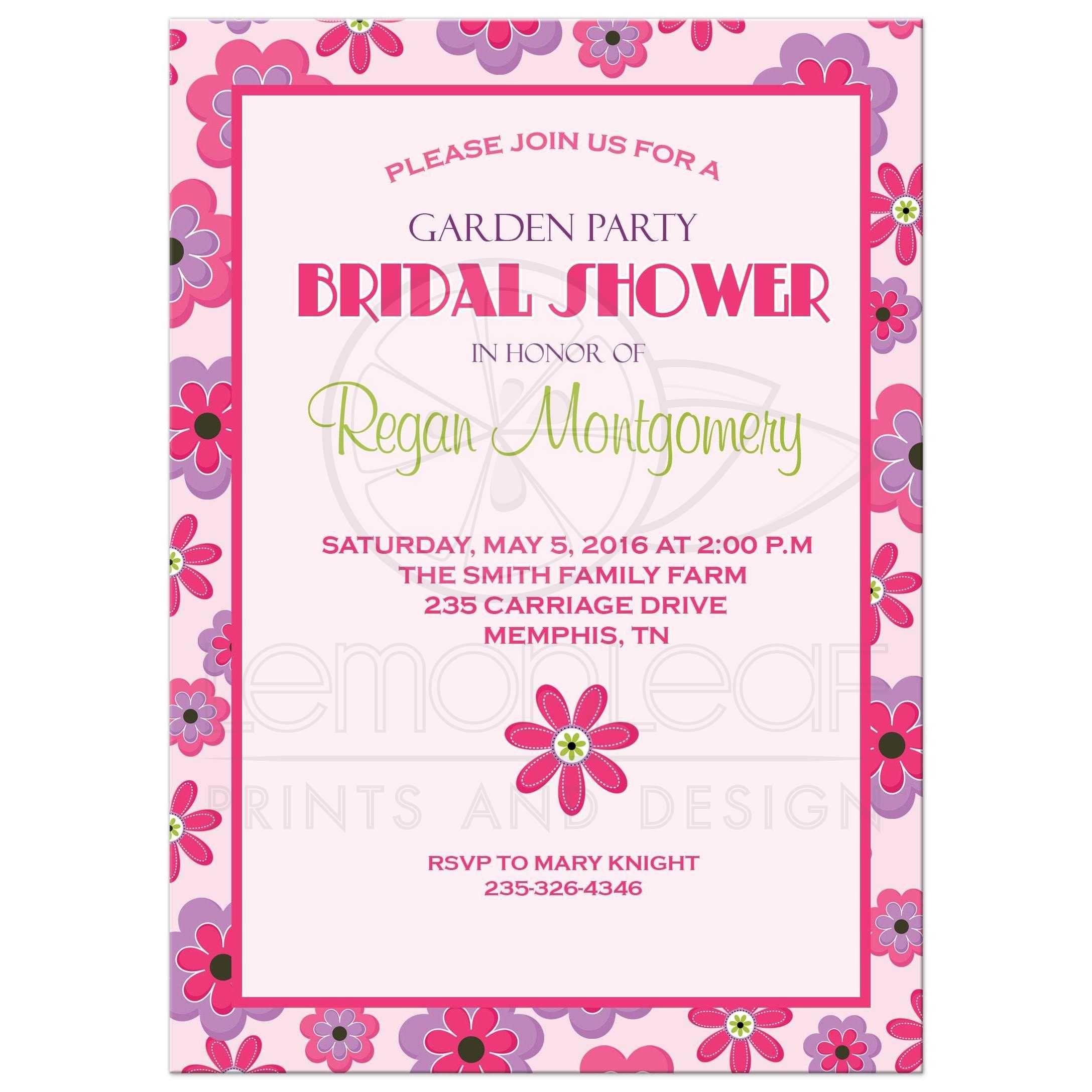 Trendy Flower Pink Bridal Shower Invitation