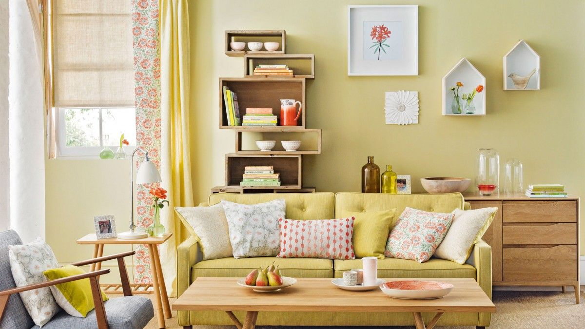 Lemongrass Yellow Living Room with Bookcase   Dream home   Pinterest ...