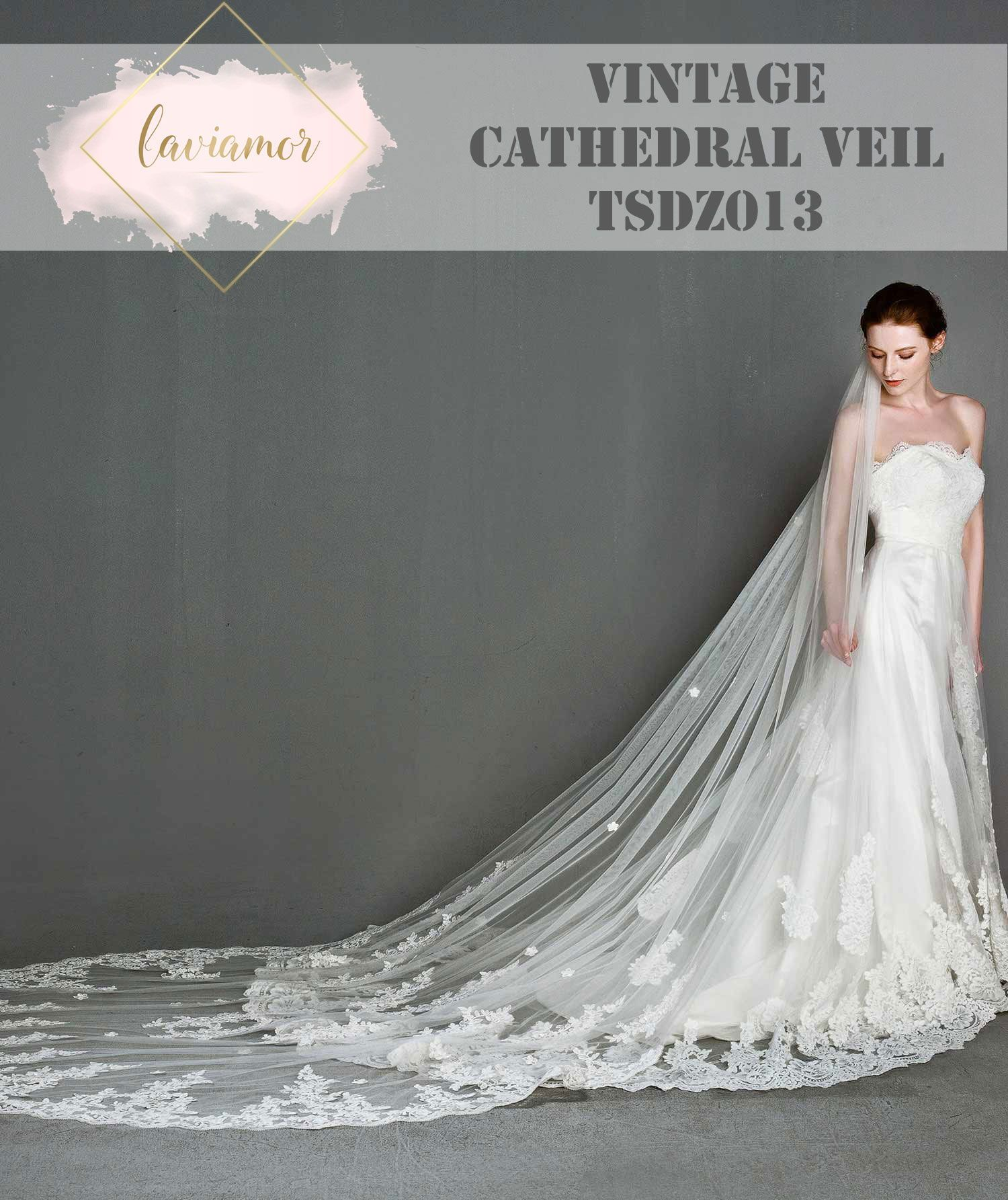 Vintage Inspired Embroidered Church Length Cathedral Lace