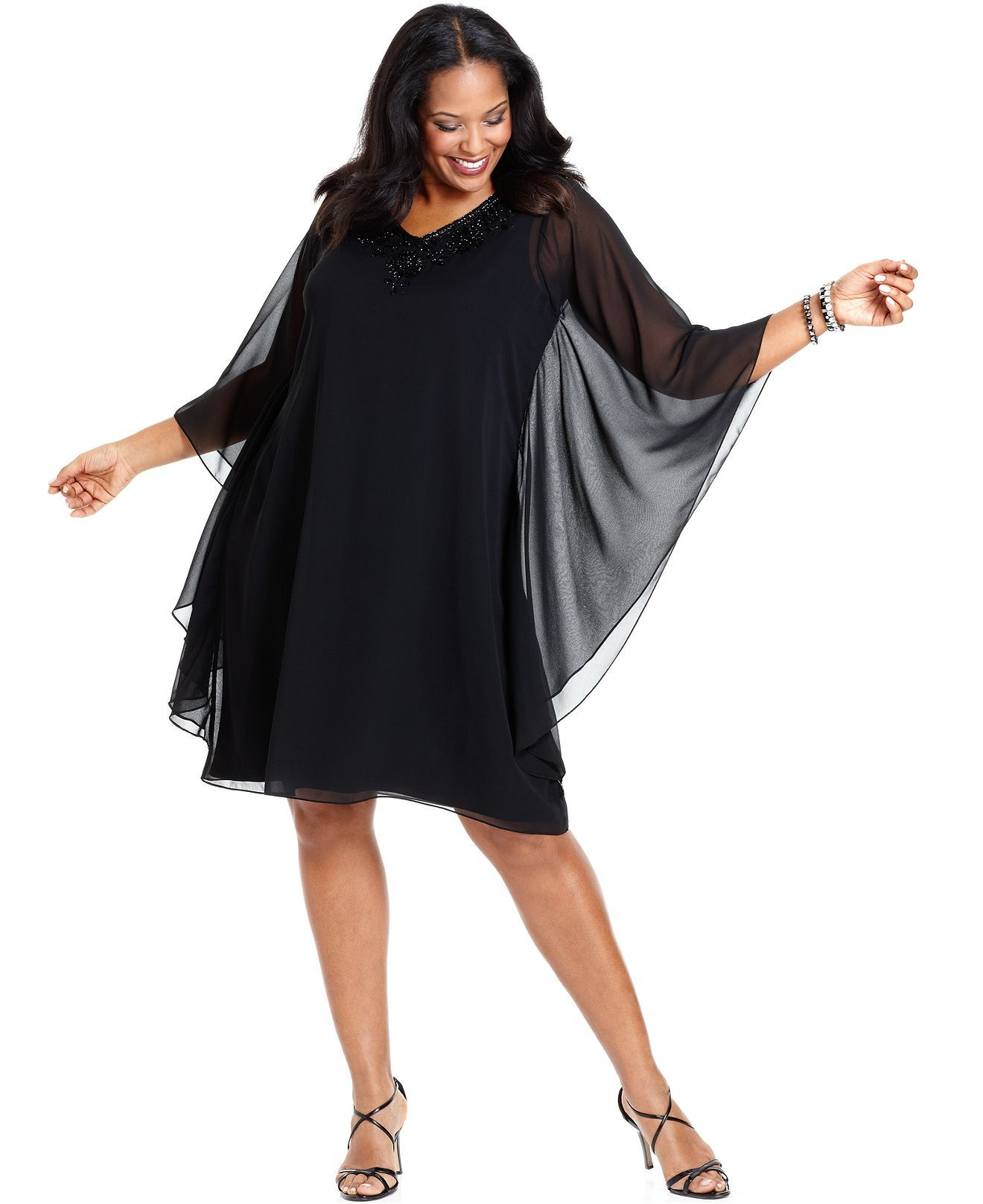 Adrianna Papell Plus Size Dress Three Quarter Batwing Sleeve Beaded