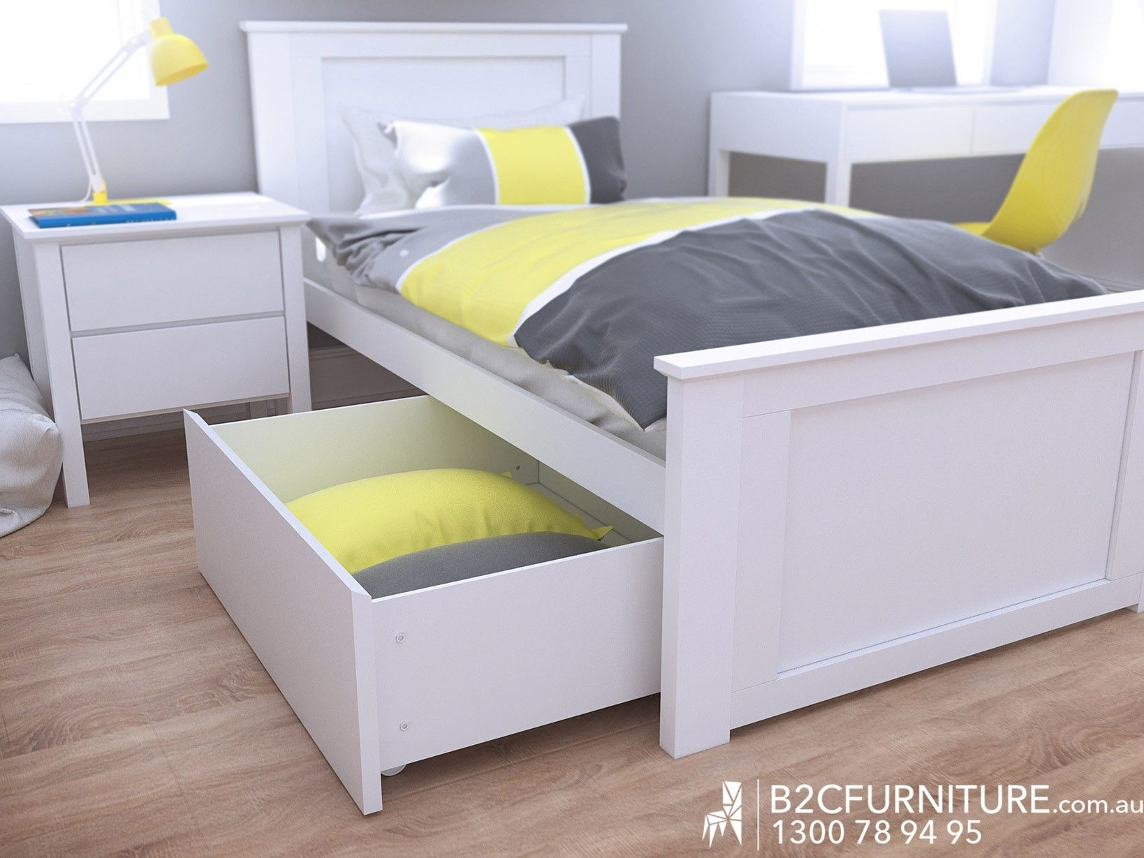 Fantastic Single Storage Bed | Whitewash | Modern