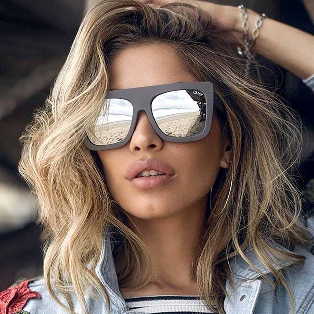 4c87cabc96 Quay Australia Grey Silver Cafe Racer Oversized Square Sunglasses Sale