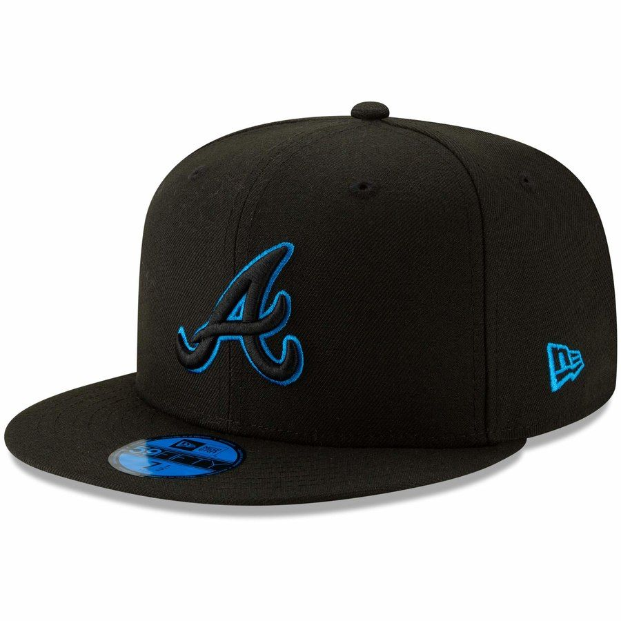 Men S Atlanta Braves New Era Black Blue Outline Neon Pop 59fifty Fitted Hat Your Price 34 99 Atlanta Braves Hat Braves Hat Braves Game Outfit