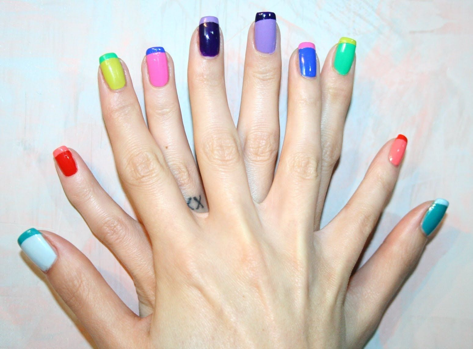 Colored french nail design - French Manicure Two Color Designs Google Search