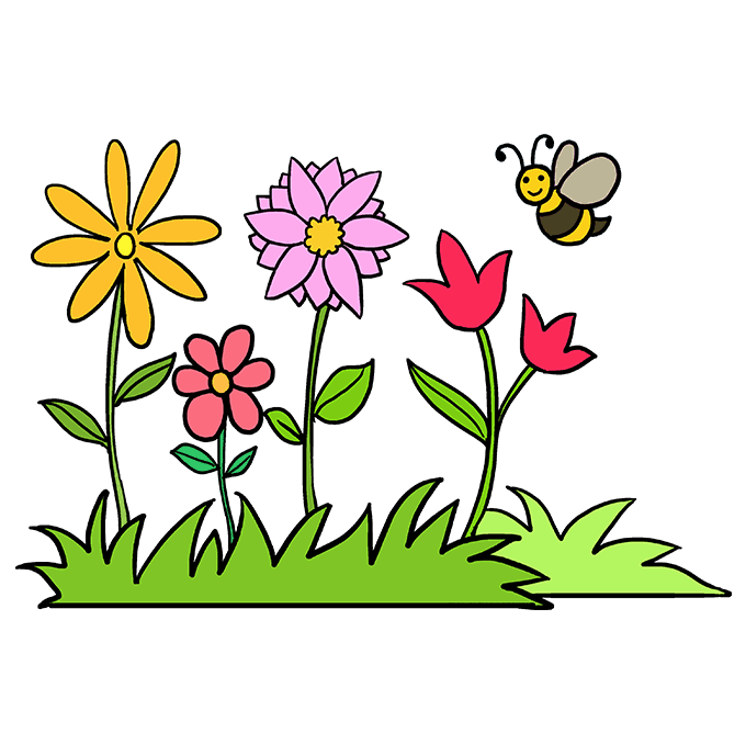 How To Draw A Flower Garden Really Easy Drawing Tutorial Flower Drawing Garden Drawing Drawing Tutorial Easy