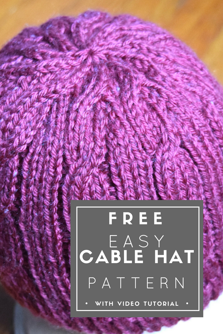 Easy Cable Hat -- FREE knitting pattern from Squigglidinks.com