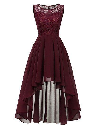 50s Contrast Lace Dip Hem Dress #lacebridesmaids