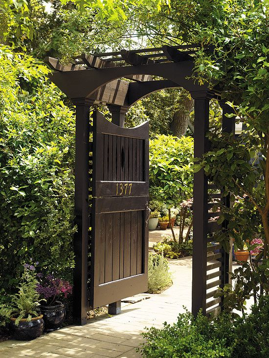 Garden Gate Dutch Black paint and brass numbers give this Dutch door and its sturdy arbour a formal elegance. The full- or half-door option can either usher ... & Love the black~ | Home and Garden Inspiration | Pinterest | Half ...