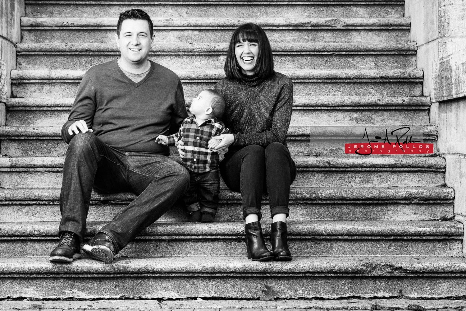 Patrick is trying to figure out what's so funny as his parents have a laugh while Sitting on the steps of College Hall. #portrait #family #spokane #washington #parents #child #laughter #steps #blackandwhite