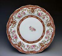 Antique Elite Limoges French Cabinet Plate Pink Roses Red Porcelain
