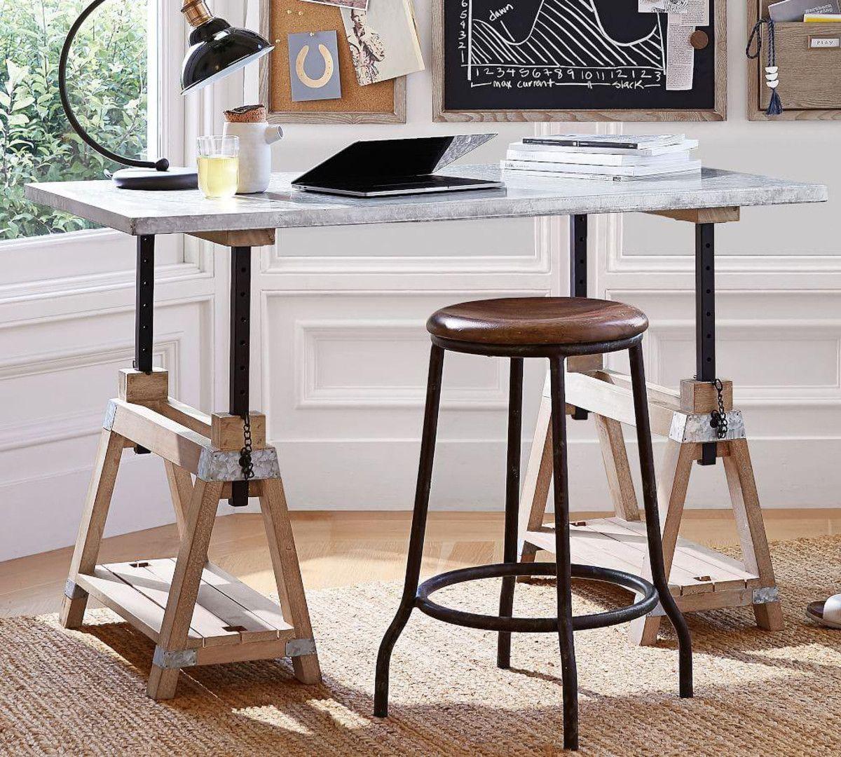 Jackson Galvanised Sawhorse Desk/Coffee Table Adjustable
