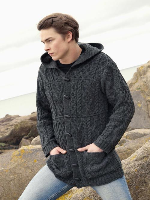 Aran Crafts Mens Aran Cable Knit Sweater With Hood Duffle Coat