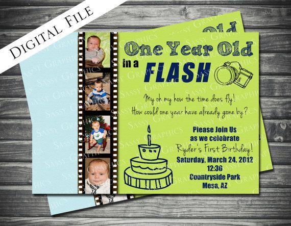 One Year In A Flash Birthday Invitation Boy Blue By Sassygfx 1600