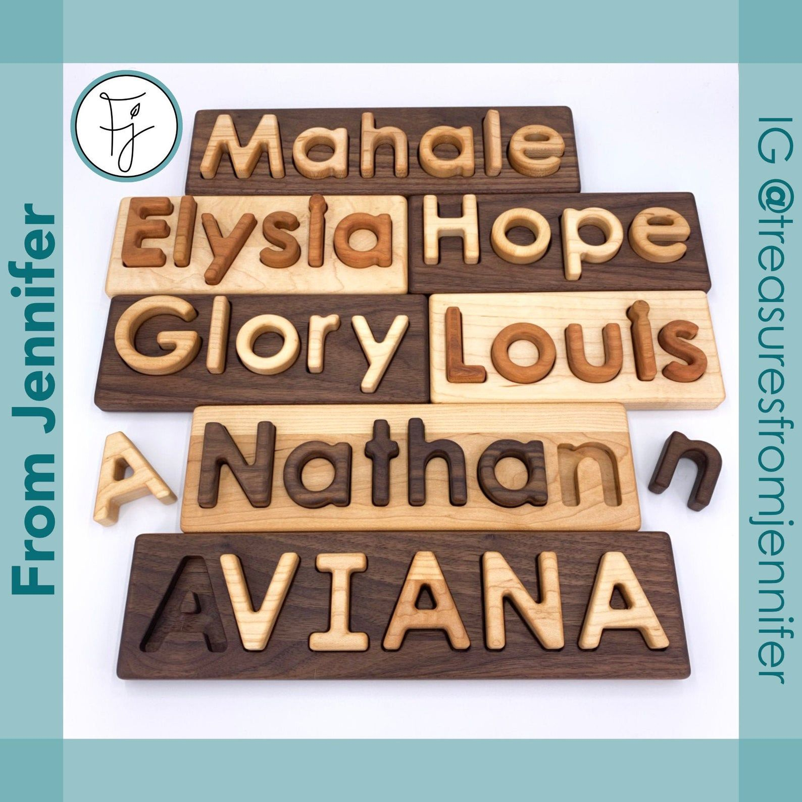 Wooden Name Puzzle Custom Name Puzzle Heirloom Quality Natural Hardwoods Name Puzzle Wooden Names Heirloom Quality
