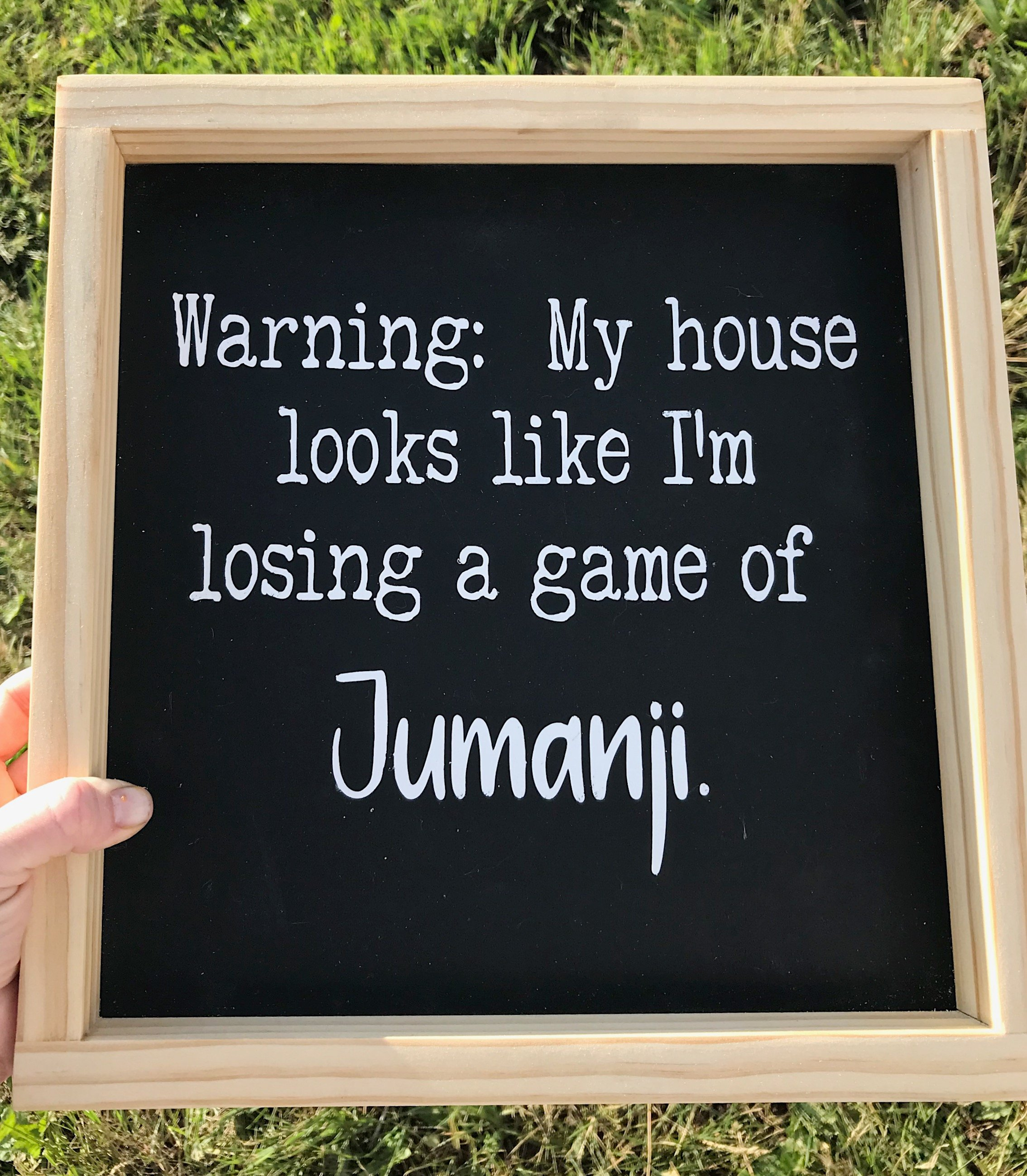 Warning: My house looks like I'm losing a game of Jumanji, Handmade Wood Sign, Funny Wood Sign, Funny Sign Farmhouse Decor, Home Decor