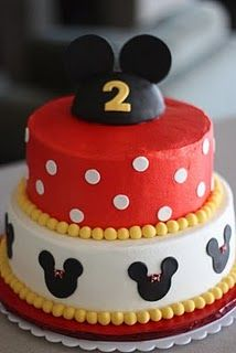 mickey mouse cake - may change middle tier to be buttons instead of polka dots