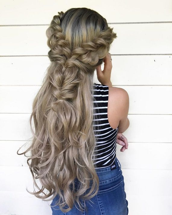 Crown braided + fishtail half up half down hairstyle,Easy half up ...