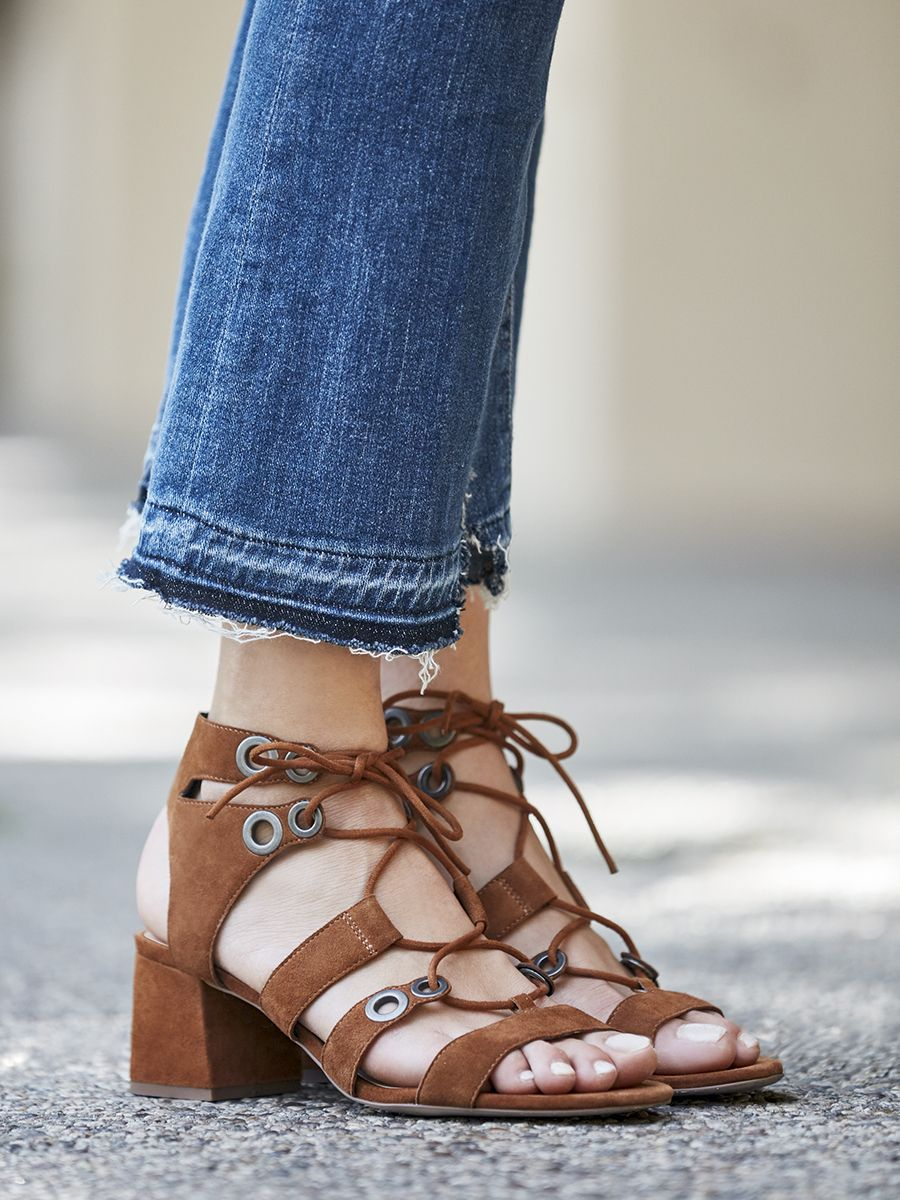 Lace Up Block Heel Sandals In Cognac Suede Style With Shorts And Dresses In Summer And Jeans And Maxi Ski Dress Shoes Womens Casual Shoes Women Fashion Boots [ 1200 x 900 Pixel ]