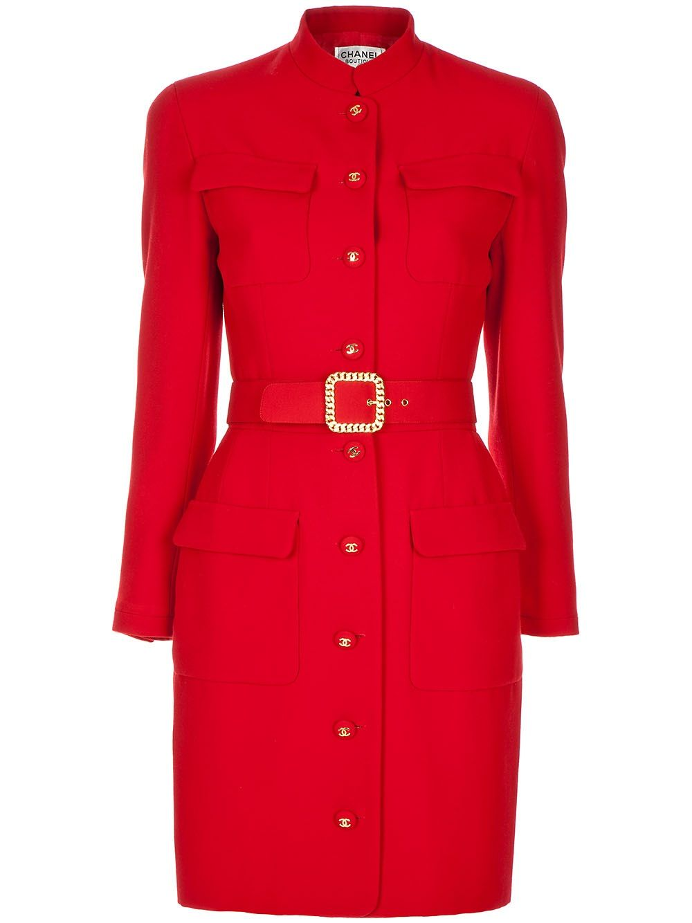eef92fe4d3e6 Chanel Vintage - Red wool fitted vintage coat from Chanel featuring red  buttns with gold tone logo detail