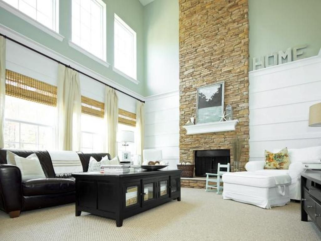 Fantastic Living Room Stone Wall Crest - Living Room Design Ideas ...