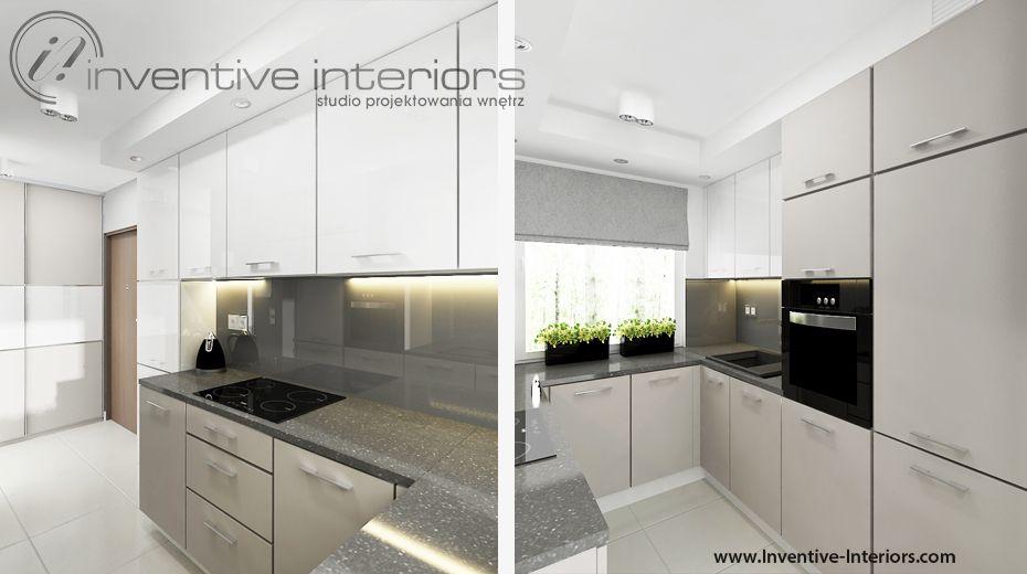 Projekt Kuchni Inventive Interiors Beżowe I Białe Szafki W