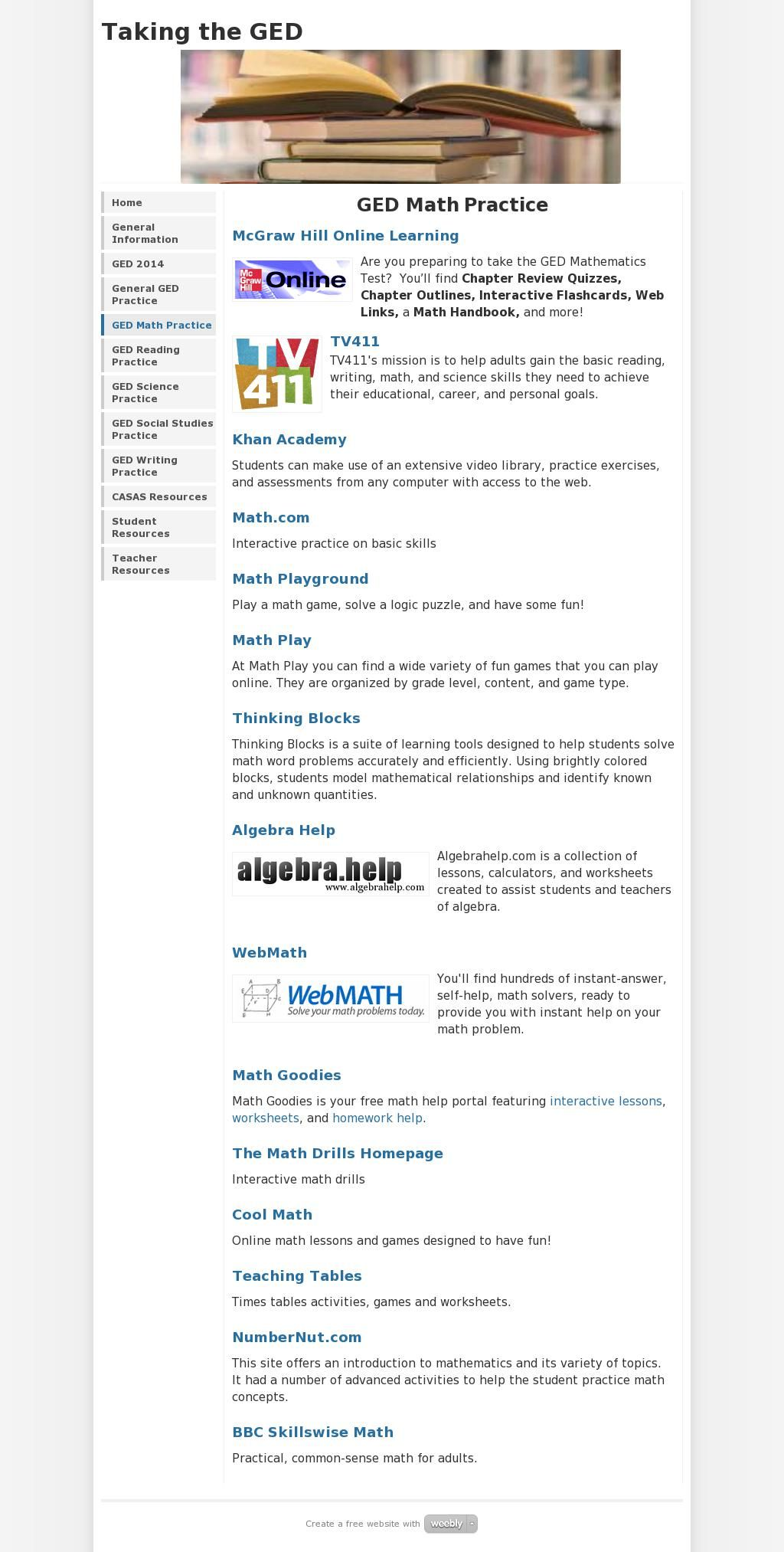 The website \'http://gedinfo.weebly.com/ged-math-practice.html ...