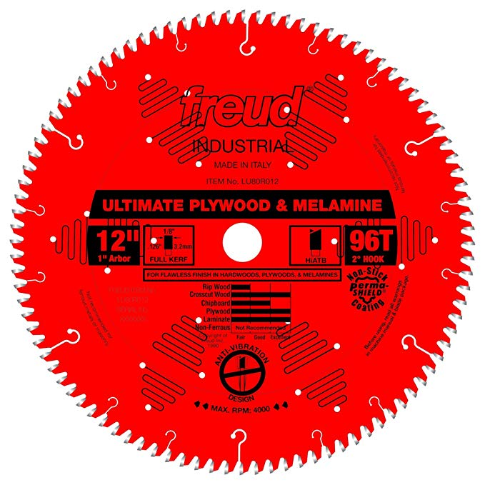 Freud Lu80r012 Ultimate Plywood Melamine Saw Blade 12 Inch X 96t Hi Atb 1 Inch Arbor Perma Shield Coated Circu Power Hand Tools Circular Saw Blades Plywood