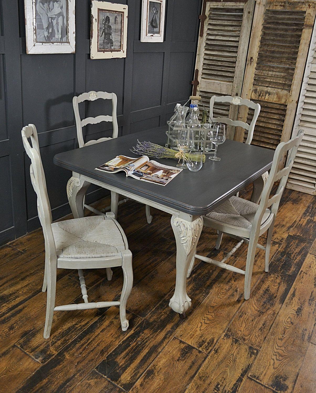 Paris grey shabby chic seater dining set by thetreasuretroveuk