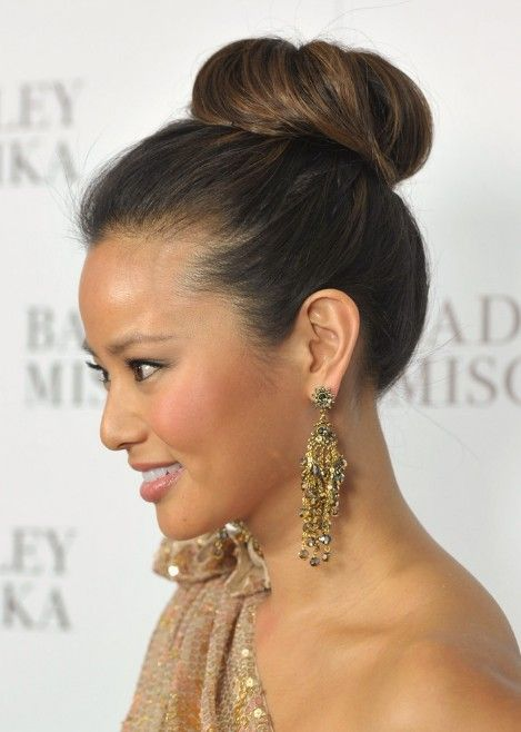 Sleek High Bun Updo Hairstyles For 2013 Hairstyles Weekly Hair Styles Updos For Medium Length Hair Womens Hairstyles