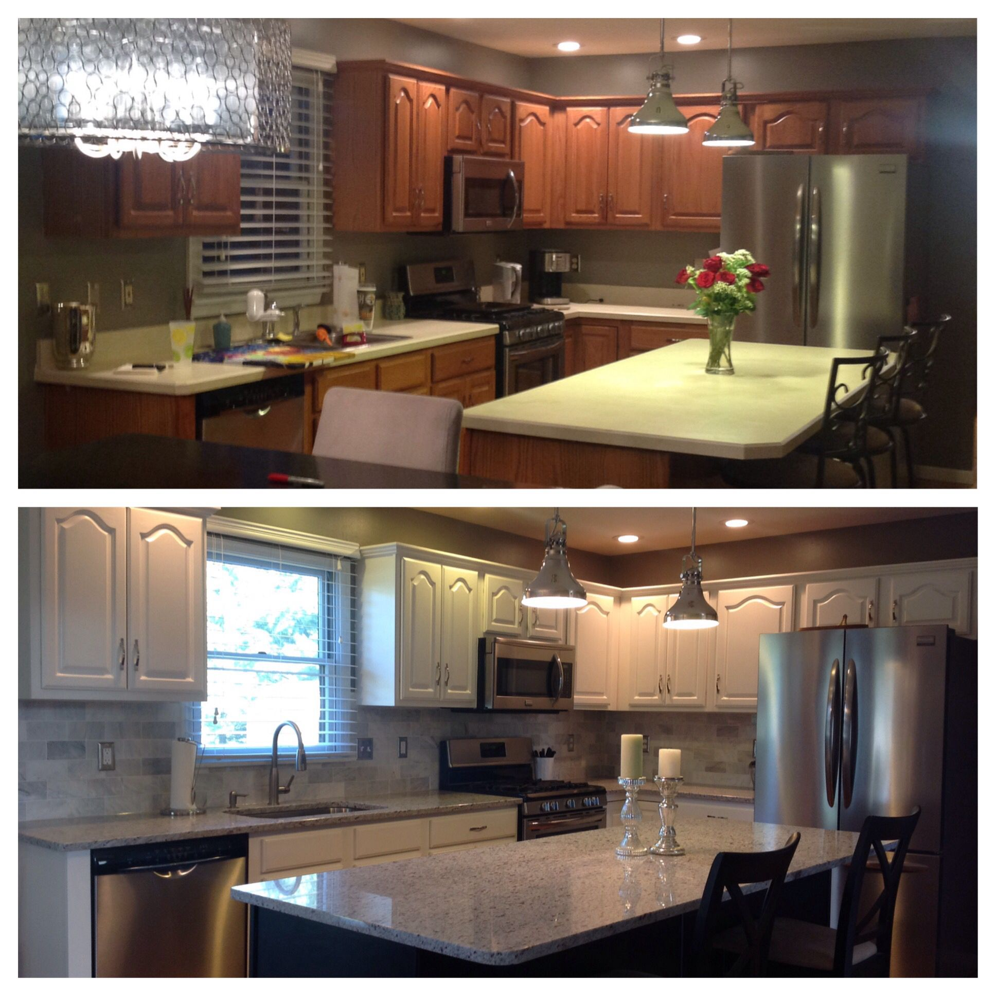 Before And After Kitchen- Paint Cabinets Dove White And