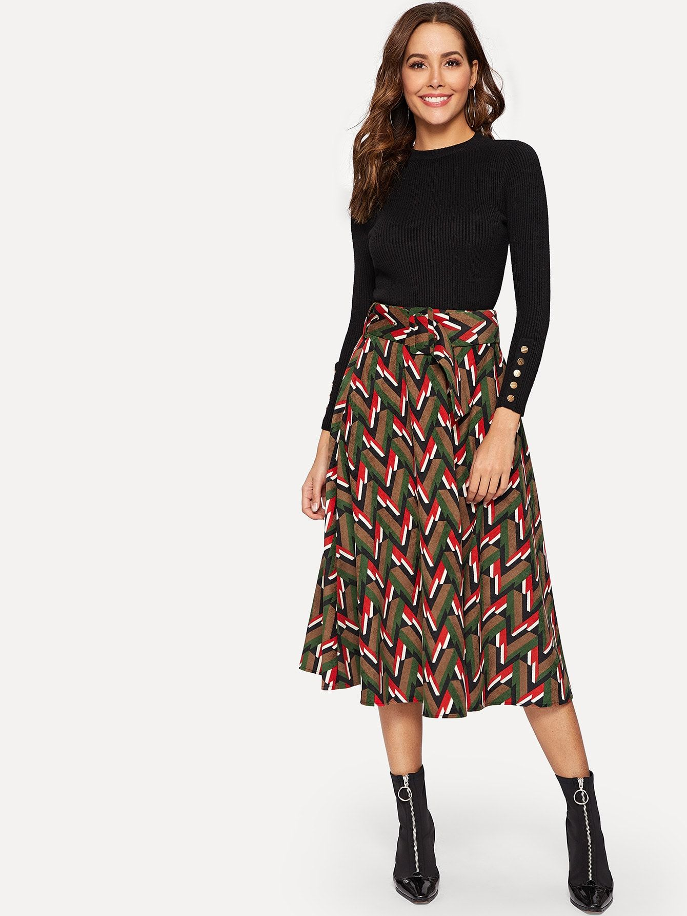 0cdddf583ac Casual A Line Belted Geometric Shift Mid Waist Multicolor Long Full Length  Wide Waist Geo Print Skirt with Belt