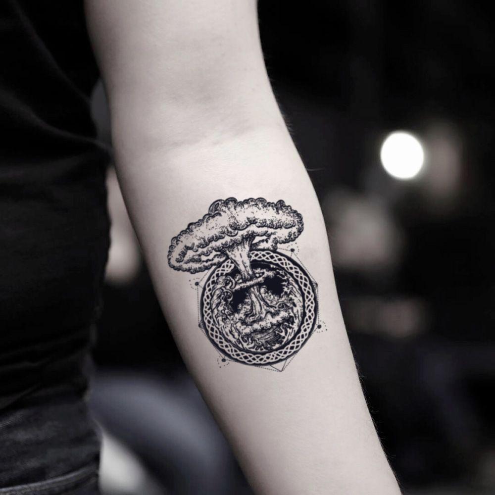Atom bomb temporary tattoo sticker set of 2 tattoos