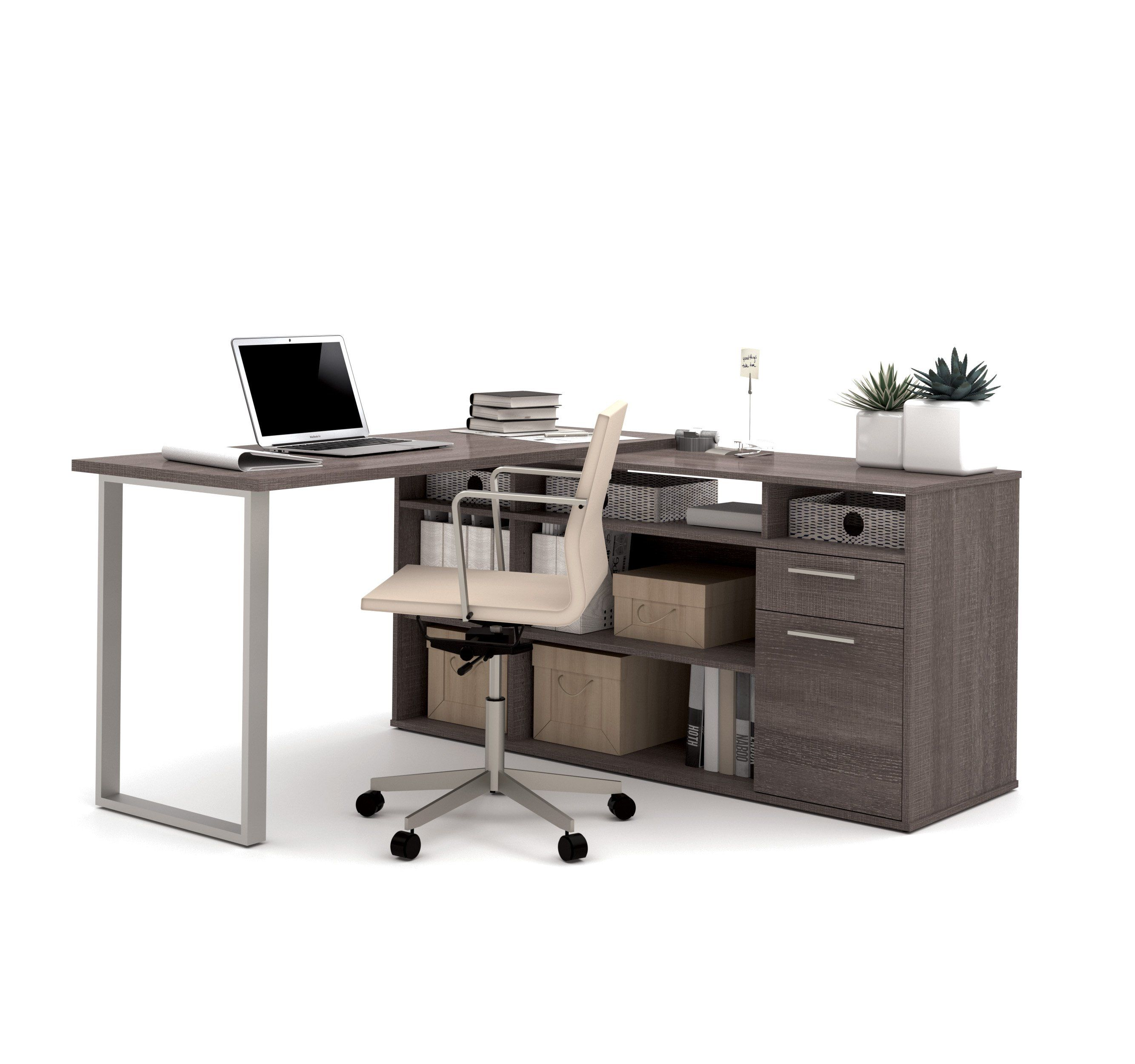 Set Of 3 L Shaped Desk Lateral File