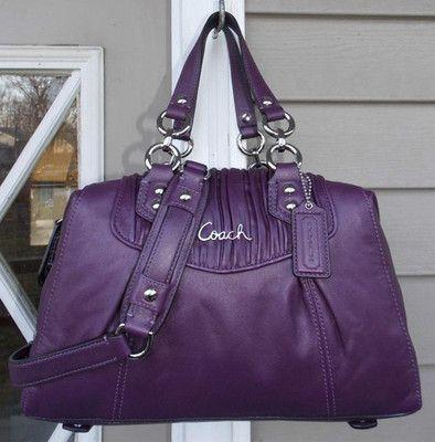 6a64a80731 NEW AUTH Coach Ashley Plum Purple Gathered Leather Satchel Handbag 19452   398+