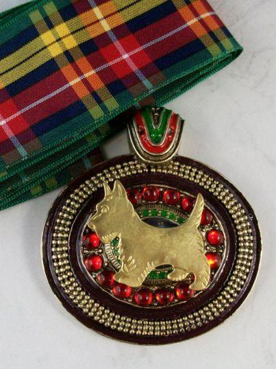 Jeweled and Enameled Vintage Scottie dog pendant with a tartan sash.