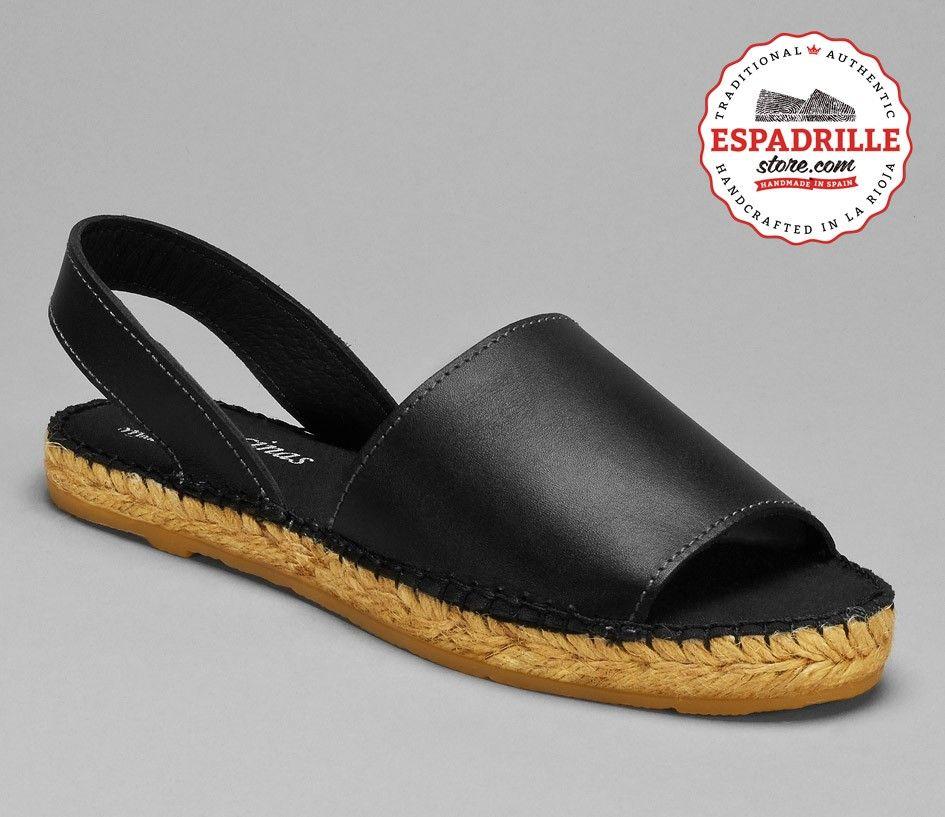 Black Leather Avarca Sandal for Women   Hand made in Spain Espadrilles