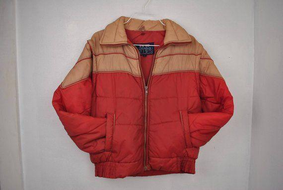 b9a740106567 VINTAGE US BLUES Kid s puffy orange jacket    vest winter ski coat ...