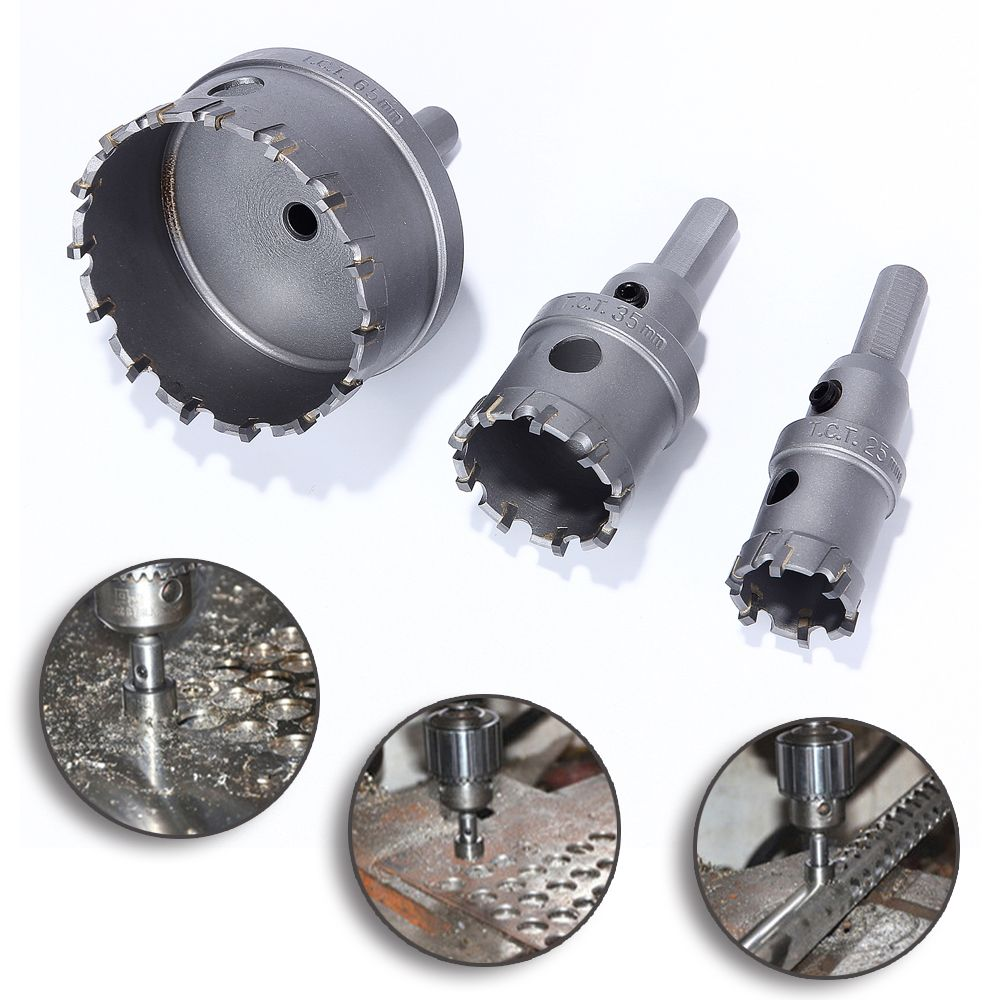 Hakkin 3pcs 25 35 65mm Sharp Hard K10 Alloy Core Drill Bit Hole Saw Tapper For Metal Drilling Stainless Steel Cemented Carbide Drill Bits Hole Saw Steel