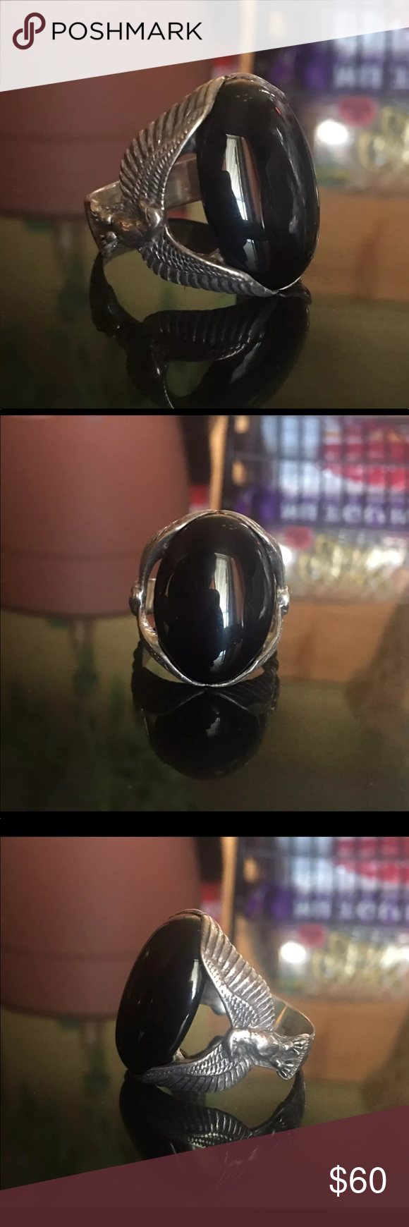 Carolyn pollack Sterling silver 925 Size: 12.5 Damage: none  Metal: Sterling silver 925 Gemstone: onyx Designer Brand: Carolyn pollack   Don't miss out on any : vintage , antique , Native American , designer jewelry pieces. Check out items, at discounted price. 925 silver , Sterling silver , gemstones , diamonds , cz . Jewelry Rings