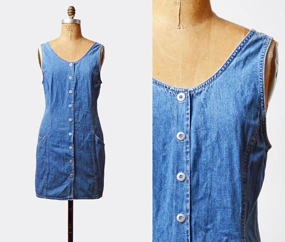 aead622083 Vintage 90s OLD NAVY Denim Mini Dress Jean Wiggle Button Up / 1990s Grunge  Hipster Blue Normcore Minidress Sleeveless Sheath