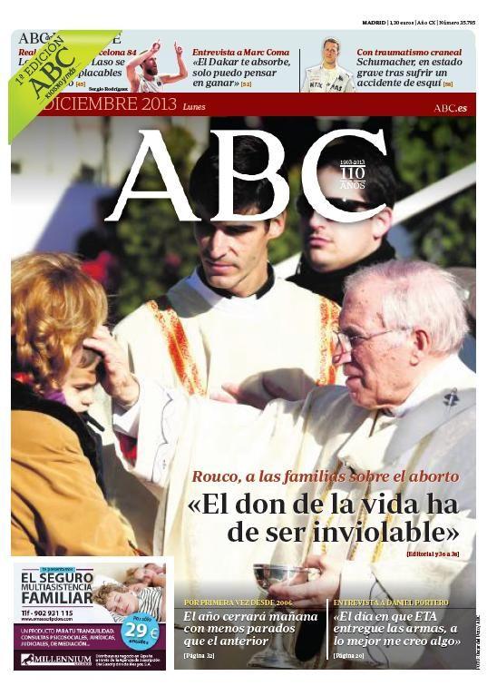 La portada de ABC del lunes 30 de diciembre