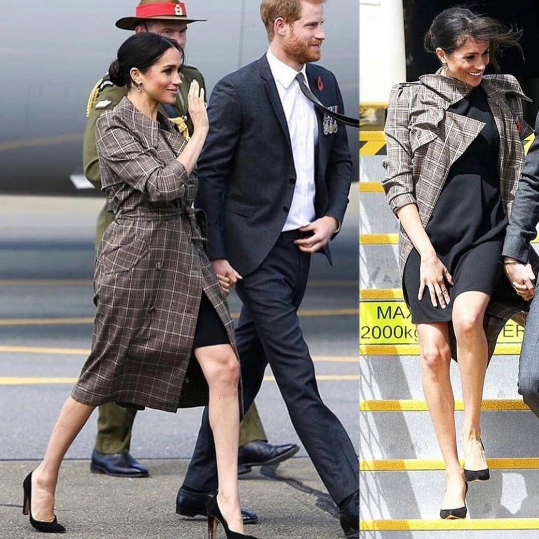 e532de9173c What the Duchess wore🕊 • Karen Walker  Banks  Trench Coat • Asos Maternity  wiggle mini dress • Sarah Flint  Jay 100  Tortoiseshell Heel…