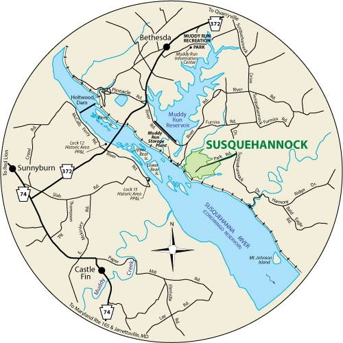 This circular map shows the roads leading to Susquehannock State