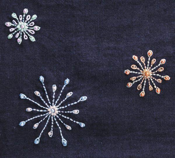 Anleitung: dekorative Blüten auf Kleidung sticken