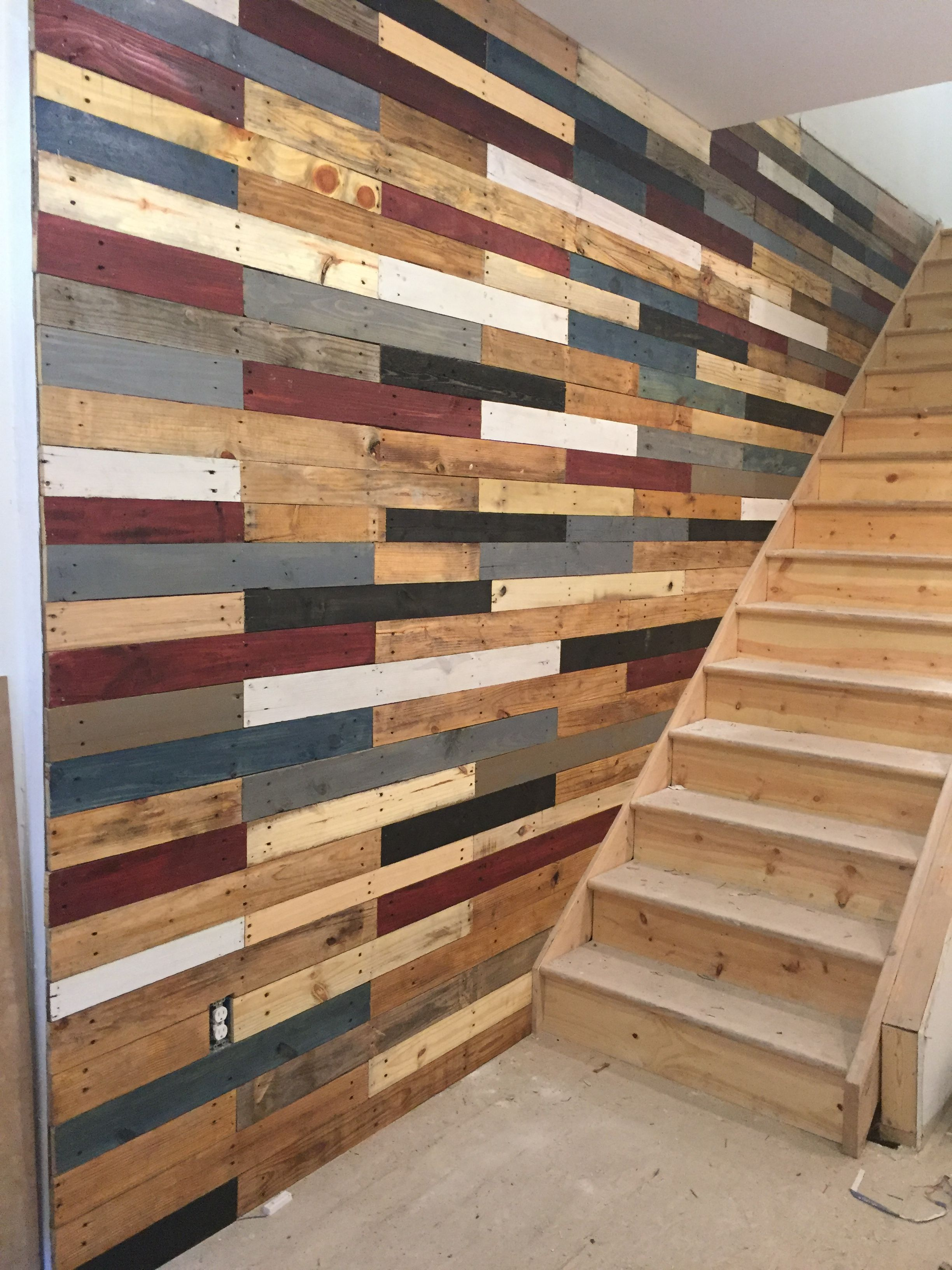 Multi Textured Multi Stained Pallet Wall Wood Pallet Wall