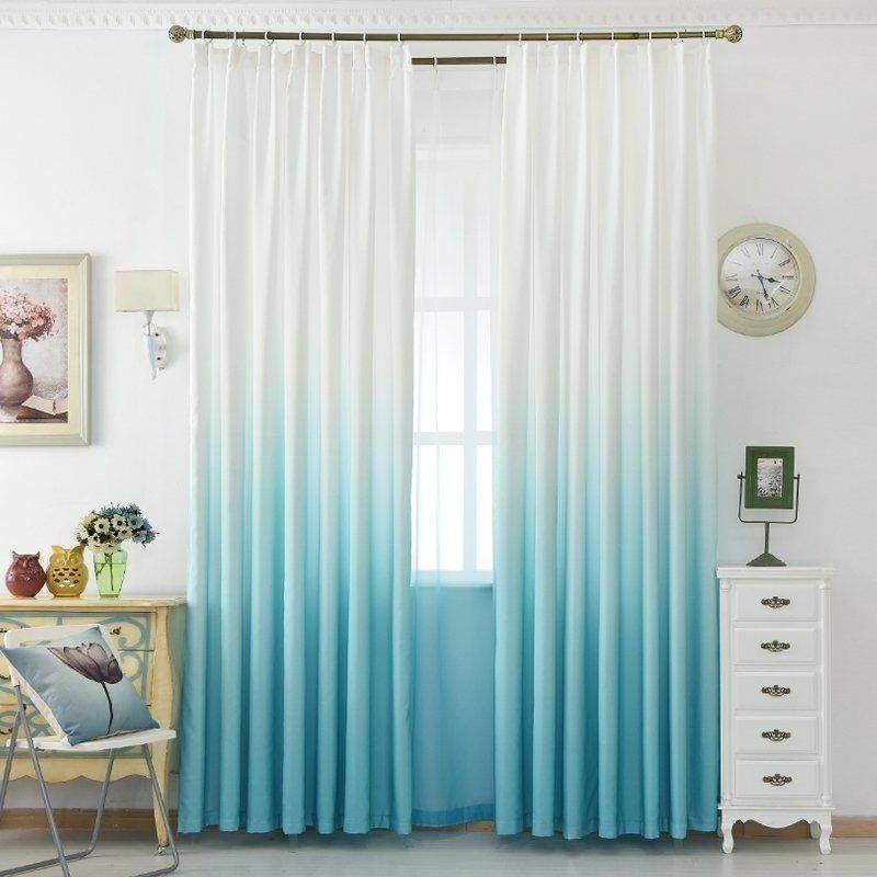 Aqua And White Ombre Style Modern Chic Hipster Urban Bedroom Curtain Urban Bedroom Bedroom Interior Furniture Color Schemes