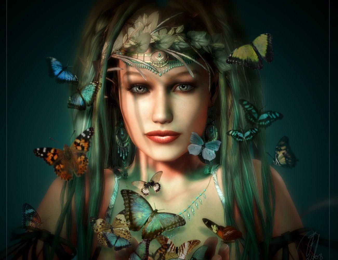Butterfly Queen 3d Abstract Art Beautiful Black Blue Brown Butterflies Cg Colors