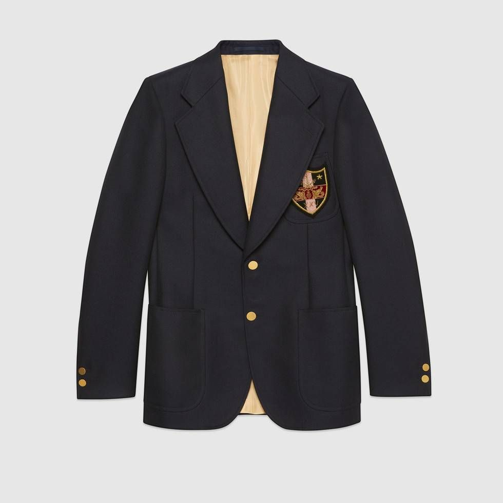Shop The Wool Jacket With Patches By Gucci Surrounded By Sunset Boulevard S Historic Film Studios And Shining Neo Designer Jackets For Men Wool Jacket Jackets [ 980 x 980 Pixel ]