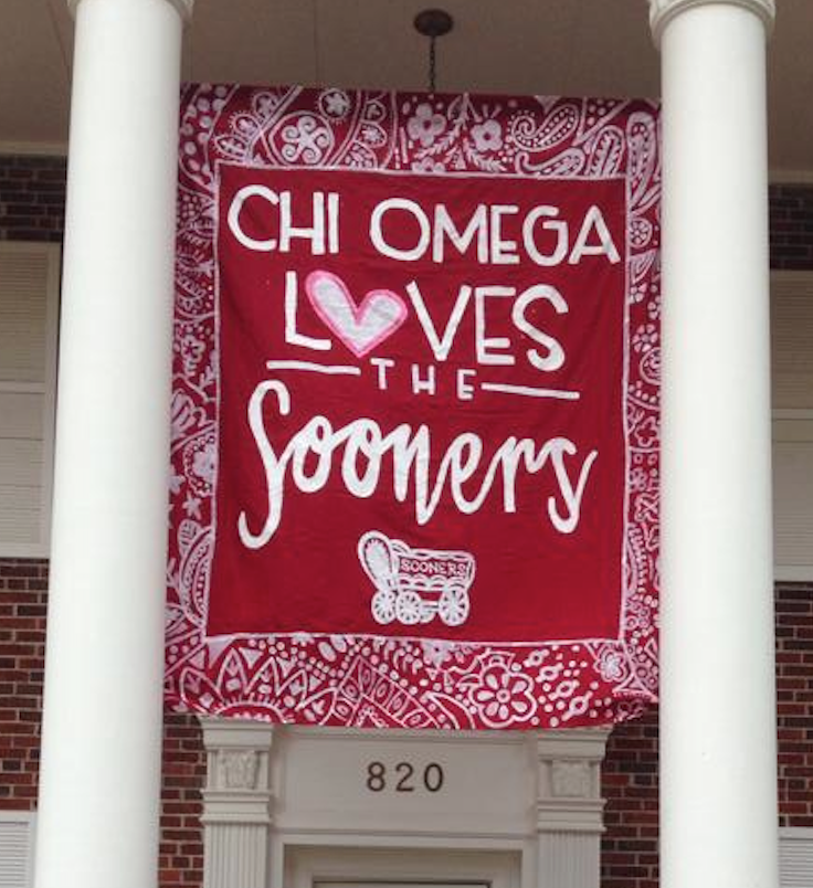 University of Oklahoma Chi Omega Game Day Banner #ou #gameday #chio #banner #sooners
