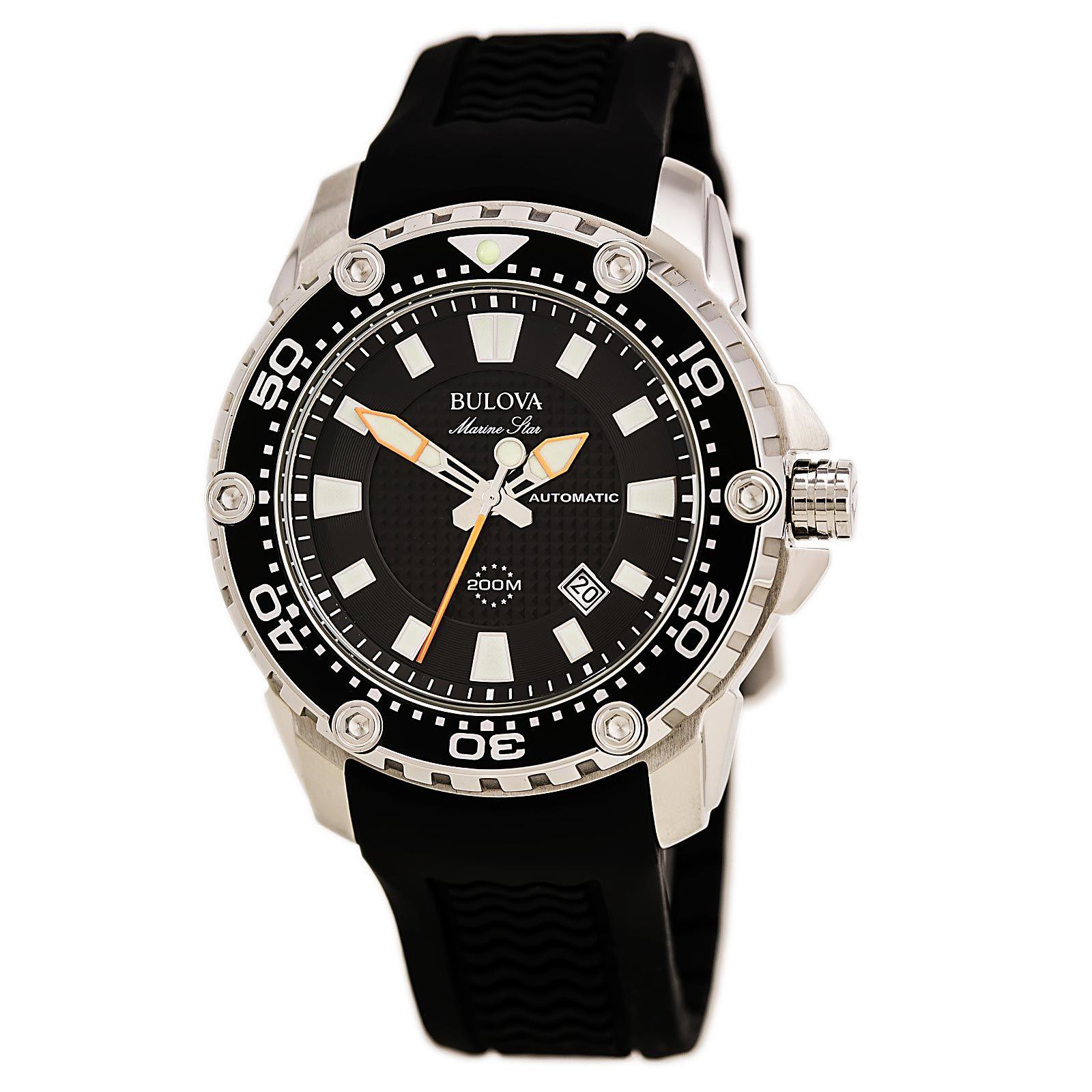 Bulova 98B209 Men\'s Marine Star Sport Black Dial Automatic Watch ...